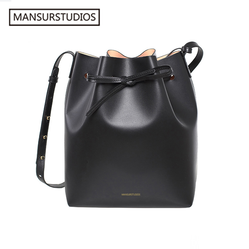 Image 3 - MANSURSTUDIOS MINI Bucket Bag Mansur women Real Leather Shoulder 