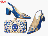 doershow beautiful blue Italian Shoes With Matching Bags African Women Shoes and Bags Set For Prom Party Summer Sandal! SBK1 6