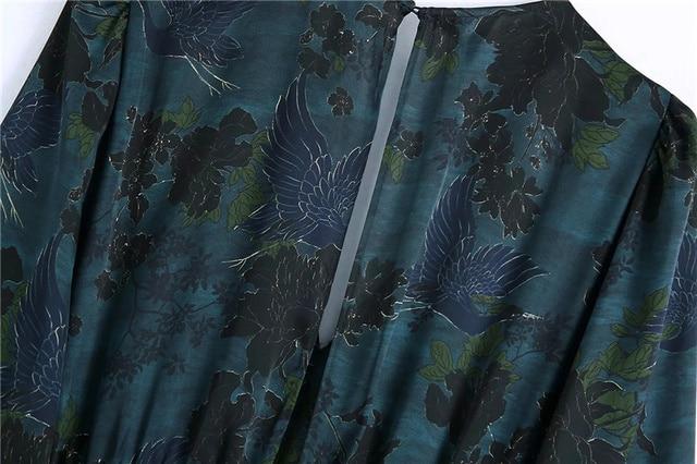 Qeils Women Chic Fashion With Draped Waist Print Mini Dress Casual Vintage V Neck Long Sleeve Female Dresses Vestidos Mujer 6