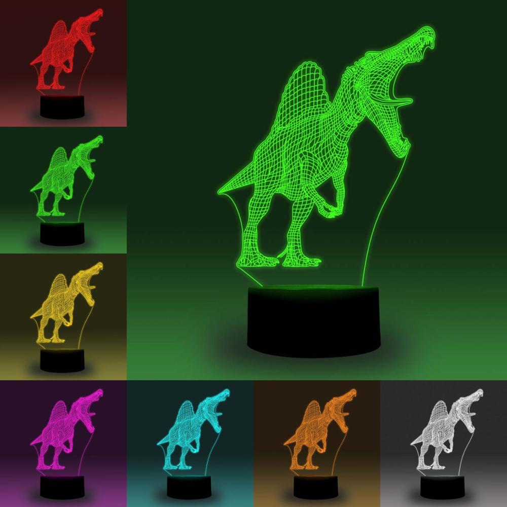 NiteApps Spinosaurus Dinosaur 3D RGB LED Night Light Desk Table Illusion Lamp Holiday Birthday Gift APP/Touch Control