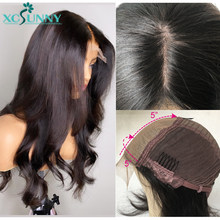 5x5 seda do couro cabeludo parte superior do laço peruca dianteira emulação cabelo humano perucas onduladas remy peruca frontal brasileira do bebê cabelo pré arrancado xcsunny