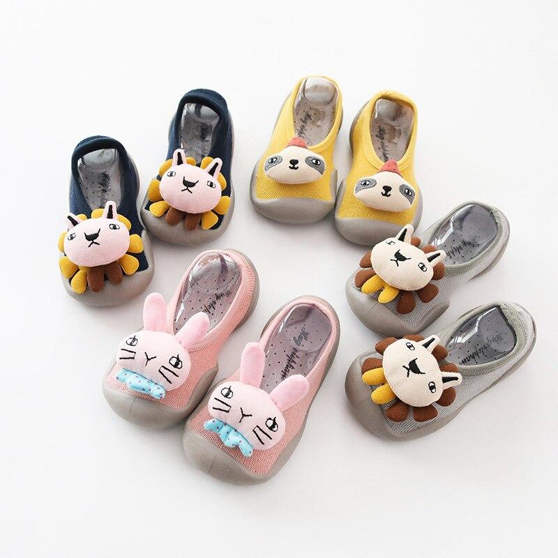 Spring And Summer New Style Children Anti-slip Floor Socks Baby Toddler Shoes Socks Rubber Sole Wa Zi Xie Stereo Doll Short Sock