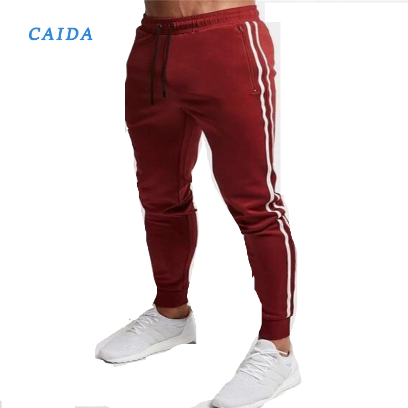 CAIDA Red Jogging Pants Men Striped Sweatpants Running Pants GYM Pants Men Cotton Trackpants Fitness Jogger Bodybuilding Trouser