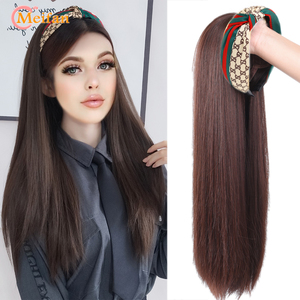 MEIFAN Long Lolita Cute Half Head Wig with Hair Band Synthetic Fluffy Clip in Hair Extension Straight/Curly Seamless Hairpiece