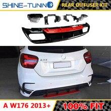 Подходит для класса W176 A45 2013-IN rear bupmer diffuser kit из нержавеющей стали 4 выпускных наконечника выхлопа A200 A220 A250