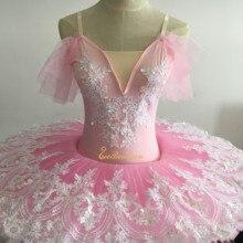 Розовое балетное платье-пачка для женщин, профессиональное балетное платье, нежное кружевное танцевальное платье для девочек, костюм для сцены Bailarina