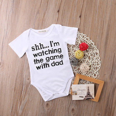SSH I'm Watching The Game With Dad Print Short Sleeve Unisex Bodysuit For Baby