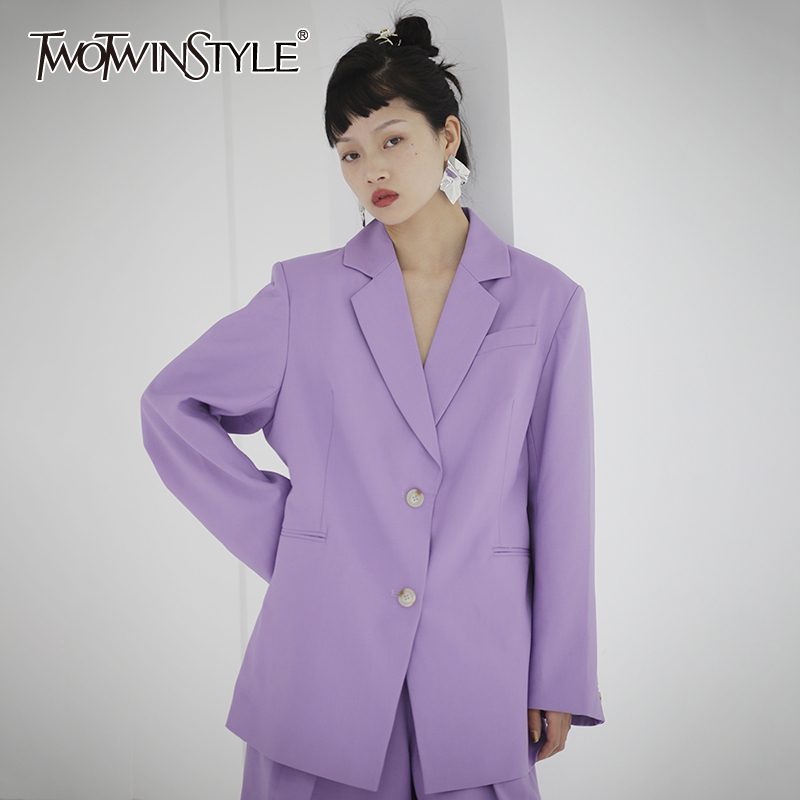 TWOTWINSTYLE Casual Purple Women Blazer Notched Long Sleeve Loose Elegant Suit For Female Fashion Clothing 2020 Spring Tide