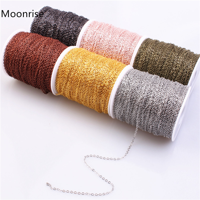 Cable-Chains Necklace Jewelry-Accessories Link Making DIY Brass for 2mm Oval 5m/Lot title=