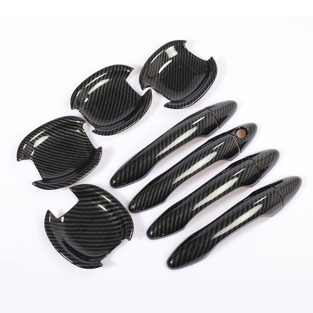 Carbon Fiber Printed Car Exterior Door Handle Cover Bowls Sticker Moulding Trim for <font><b>Kia</b></font> K5 2011 2012 2013 2014 2015 Styling image