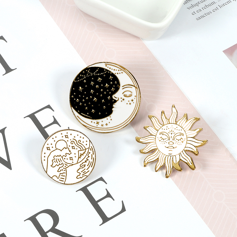 Cartoon Waves Brooch Vintage Sun and Moon Round Enamel Pins Adventure Explore Camping Badges for Women Shirts Lapel Pin Jewelry 2