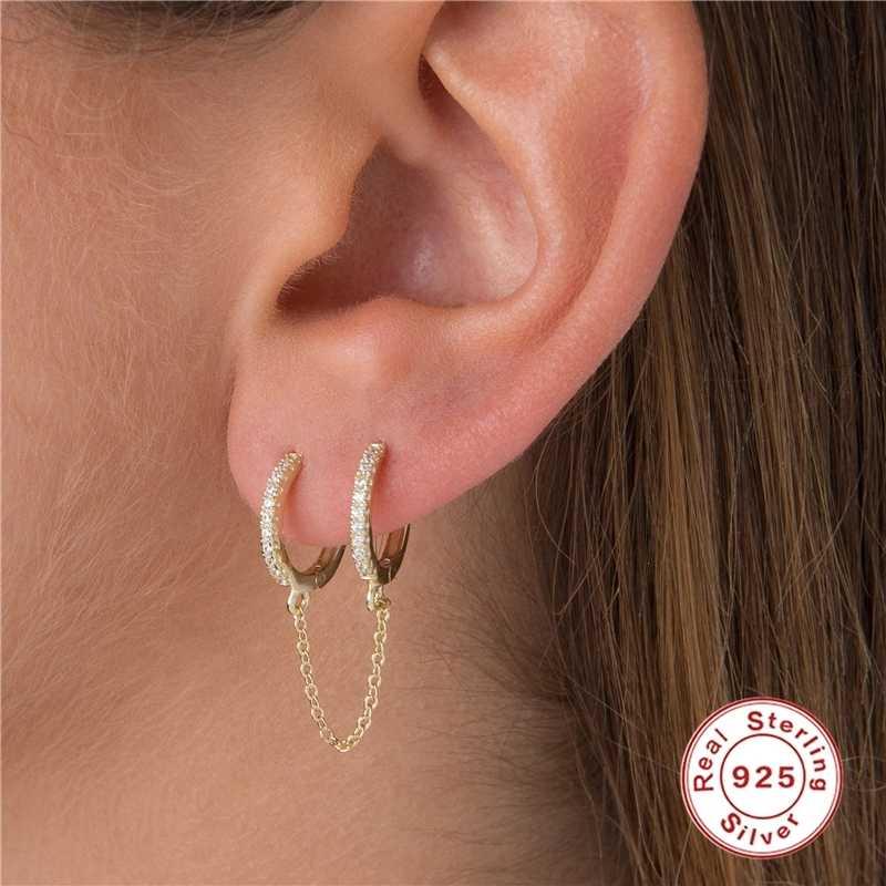 1 Pcs Gothic Punk Handschellen Kette Ohrringe Echt 925 Silber Europäischen Ohrringe Link Kette Für Frauen/Mädchen Geschenke