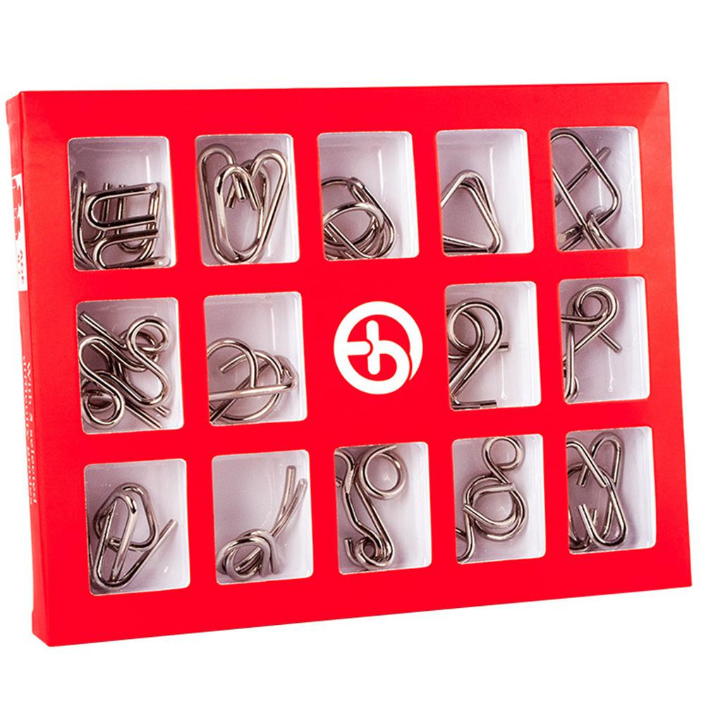 Hobbylane 15 Pcs/Set IQ Metal Puzzle Mind Brain Teaser Magic Wire Puzzles Game Toys For Children Adults Kids