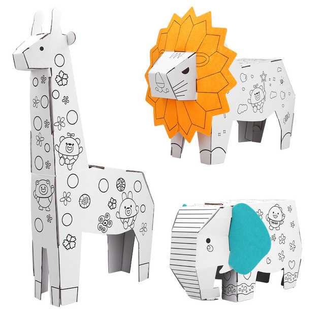 3D DIY Puzzle Castle Model Cartoon Animal Assembling Paper Toy 2