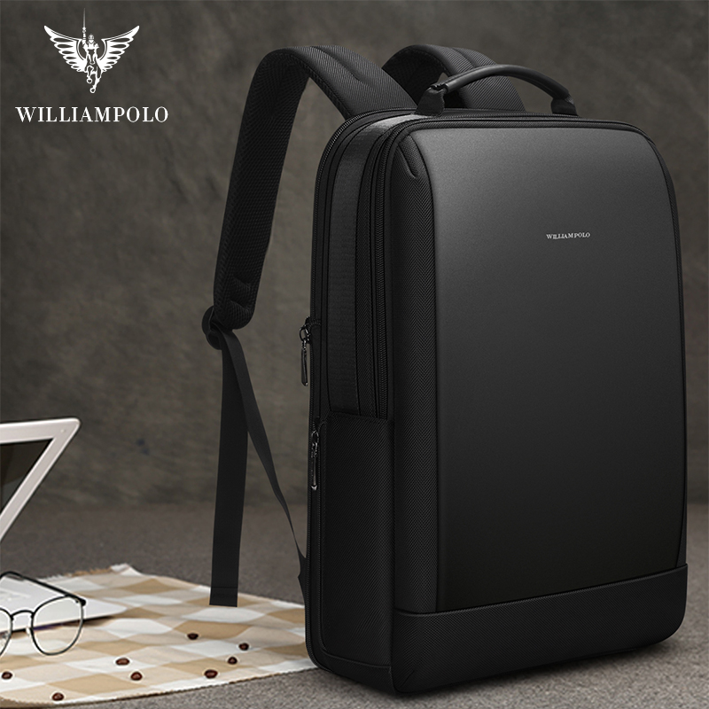 WILLIAMPOLO Men Business Backpack Hidden Pocket Anti-theft Backpack Waterproof Laptop Backpack For Men Leather USB Charge 2019