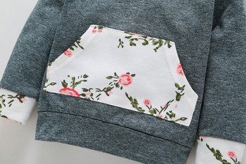 Previous Next Baby Girl's Floral Hoodie and Pants Set with Headband 4