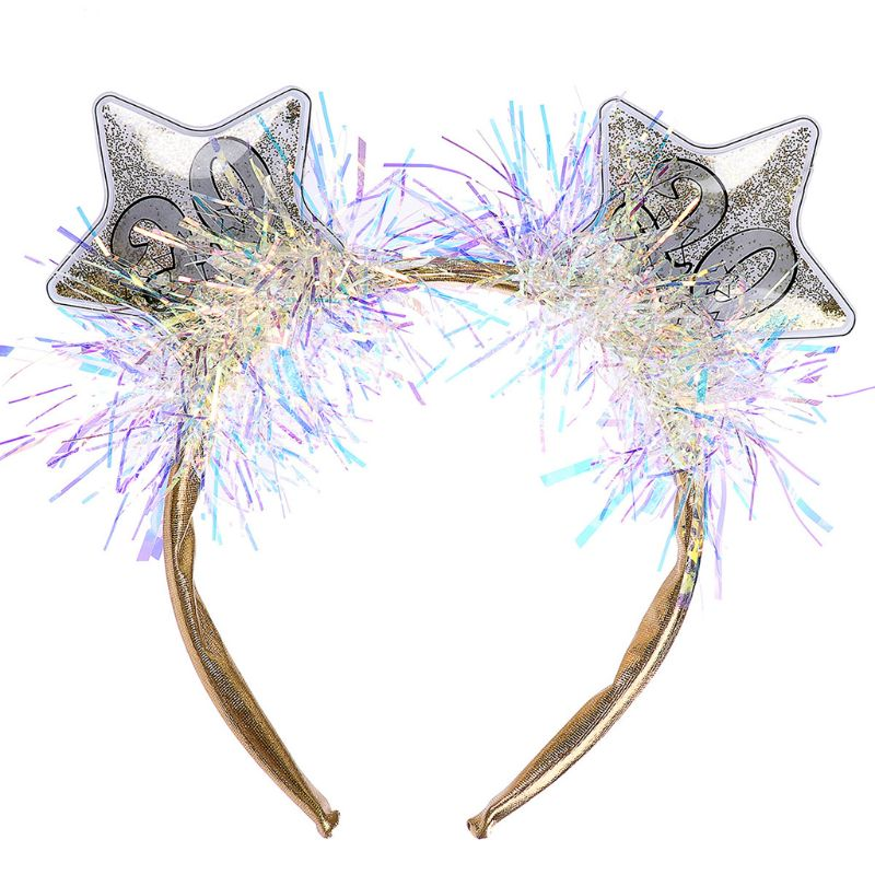 2020 Star Boppers Tinsel Sequins Hair Hoop Women Girls Happy New Year Headband