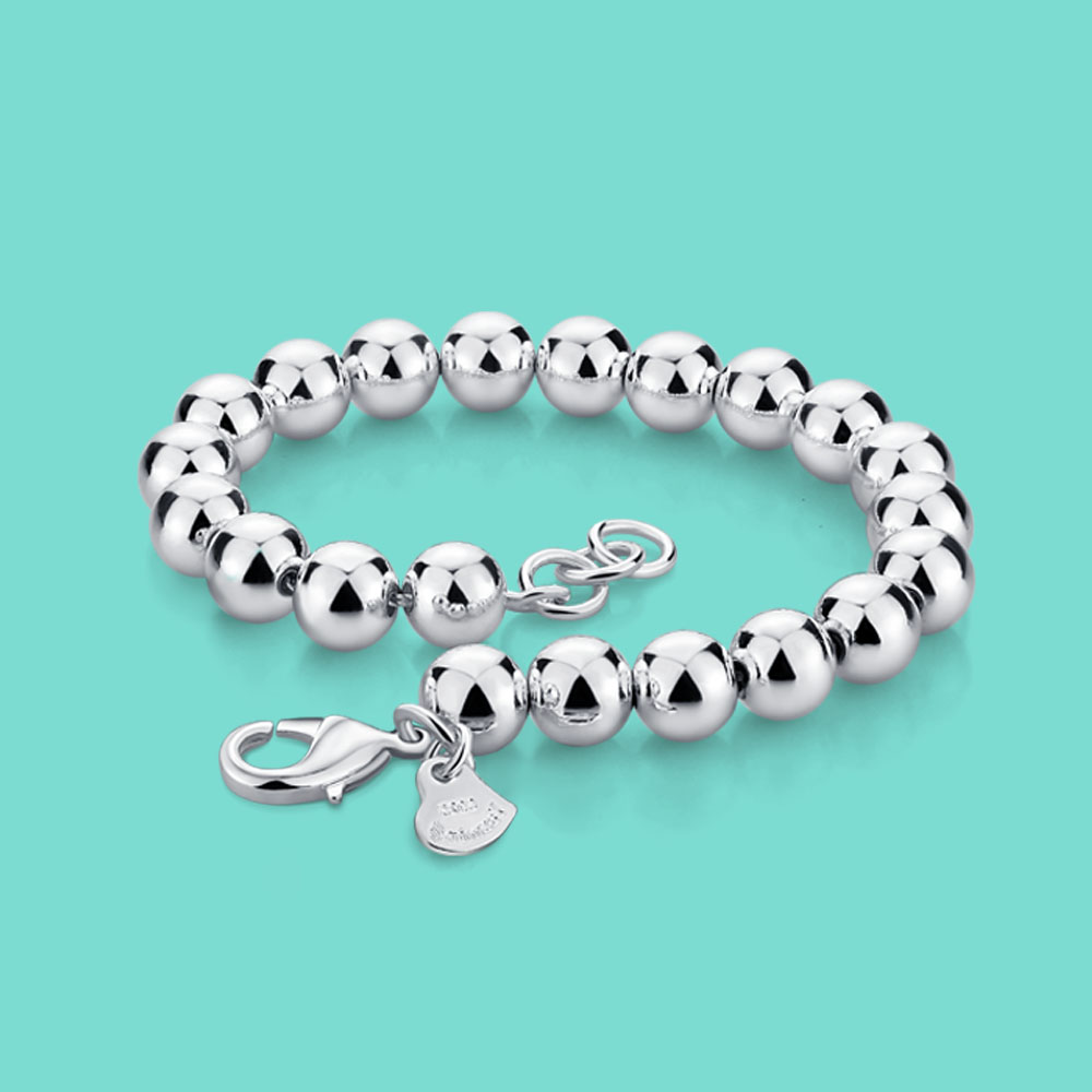 Women's 925 Sterling Silver Bracelet Simple Style Beaded Chain Solid Silver Not Fade 6mm16-20cm Size Charm Female Accessories