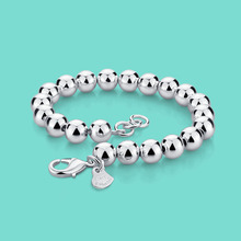 women's 925 sterling silver bracelet simple style beaded chain Solid silver not
