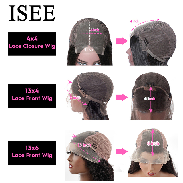 ISEE HAIR Straight Lace Front Human Hair Wigs For Women 13X6 HD Lace Frontal Wig 4X4 Long Malaysian Straight Lace Closure Wig 5