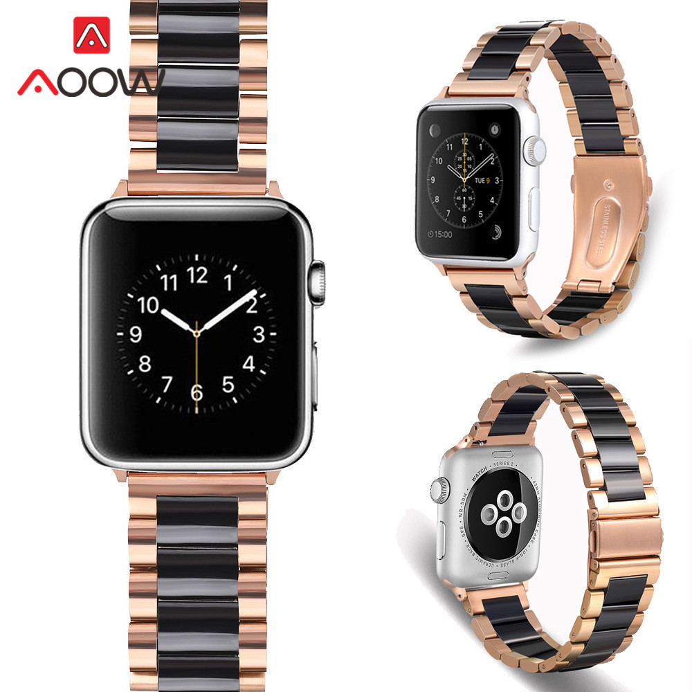 Stainless Steel Ceramic Strap Watchband For Apple Watch 5 4 38mm 42mm 40mm 44mm Luxury Men Women Band Bracelet For IWatch 3 2 1