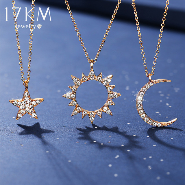 17KM Vintage Moon Star Sun Necklaces For Women Ladies Crystal Gold Pendant Necklace 2020 New Design Choker Fashion Jewelry Gift 2