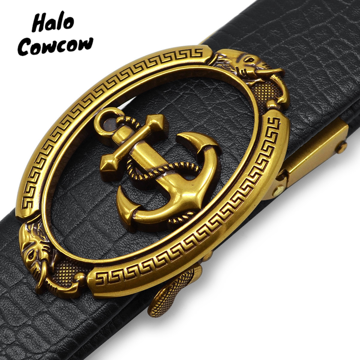 2019 Gold Anchor Designer Belts High Quality Men Fashion Luxury Brand Automatic Buckle Leather Waist Belt For Jeans Kemer Riem