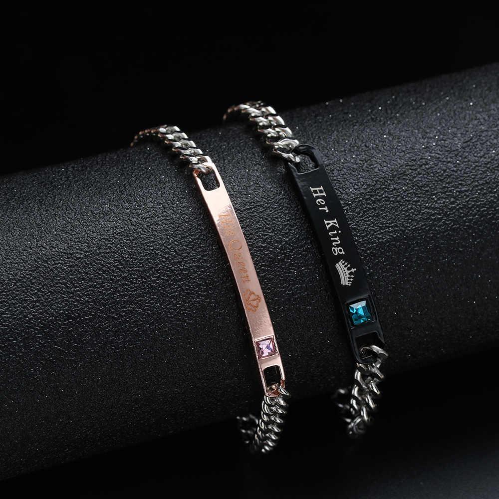 1 Pza moda de acero inoxidable par pulseras hombres y mujeres amor brazalete su Reina su rey corona de cristal joyería regalo de San Valentín