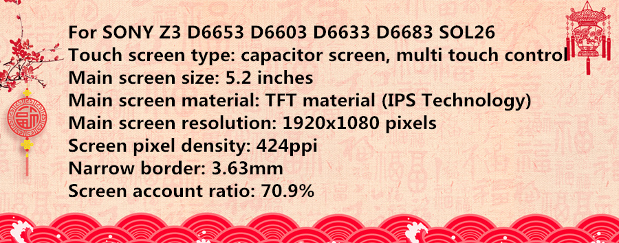 H7711503ef7ed4c7282106e6a0671ca3eA 5.2'' ORIGINAL For SONY Xperia Z3 LCD Display Touch Screen D6603 D6616 D6653 Replacement LCD for SONY Xperia Z3 Dual D6633 D6683