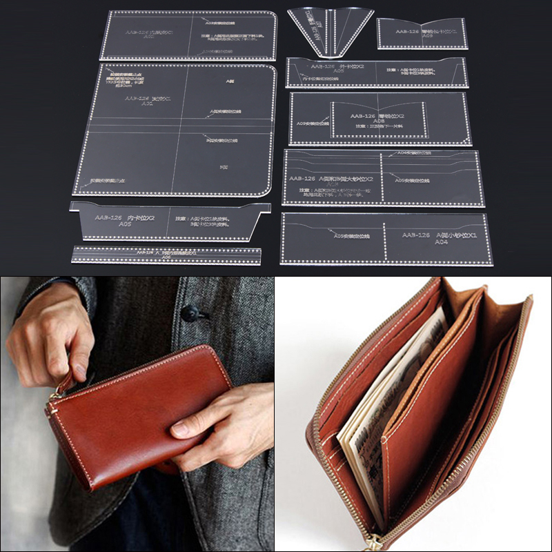 DIY set Long Wallet Acrylic Leather Template Leathercraft Tool  for Leather Handmade Wallet Pattern Stencil 20*10*1.5cm