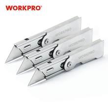 WORKPRO-Juego de cuchillos plegables de cambio de bolsillo rápido, cuchillo de utilidad con Clip para cinturón, cuchilla para caja de corte de papel, 3 uds.