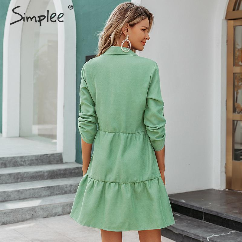 Image 4 - Simplee Autumn women shirt dress A line lapel solid female casual blouse dress Winter long sleeve office ladies chic short dressDresses   -