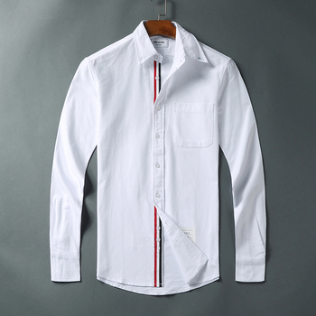 2021 Fashion TB THOM Brand Shirts Men Slim White Long Sleeve Casual Shirt Turn Down Collar Oxford Striped Solid Men's Clothing 1
