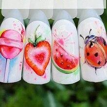1PCS 딸기 여름 과일 손톱에 대 한 스티커를 마시는 매니큐어 네일 아트 디자인 물 전송 워터 마크 아름다움 Decals TRSTZ