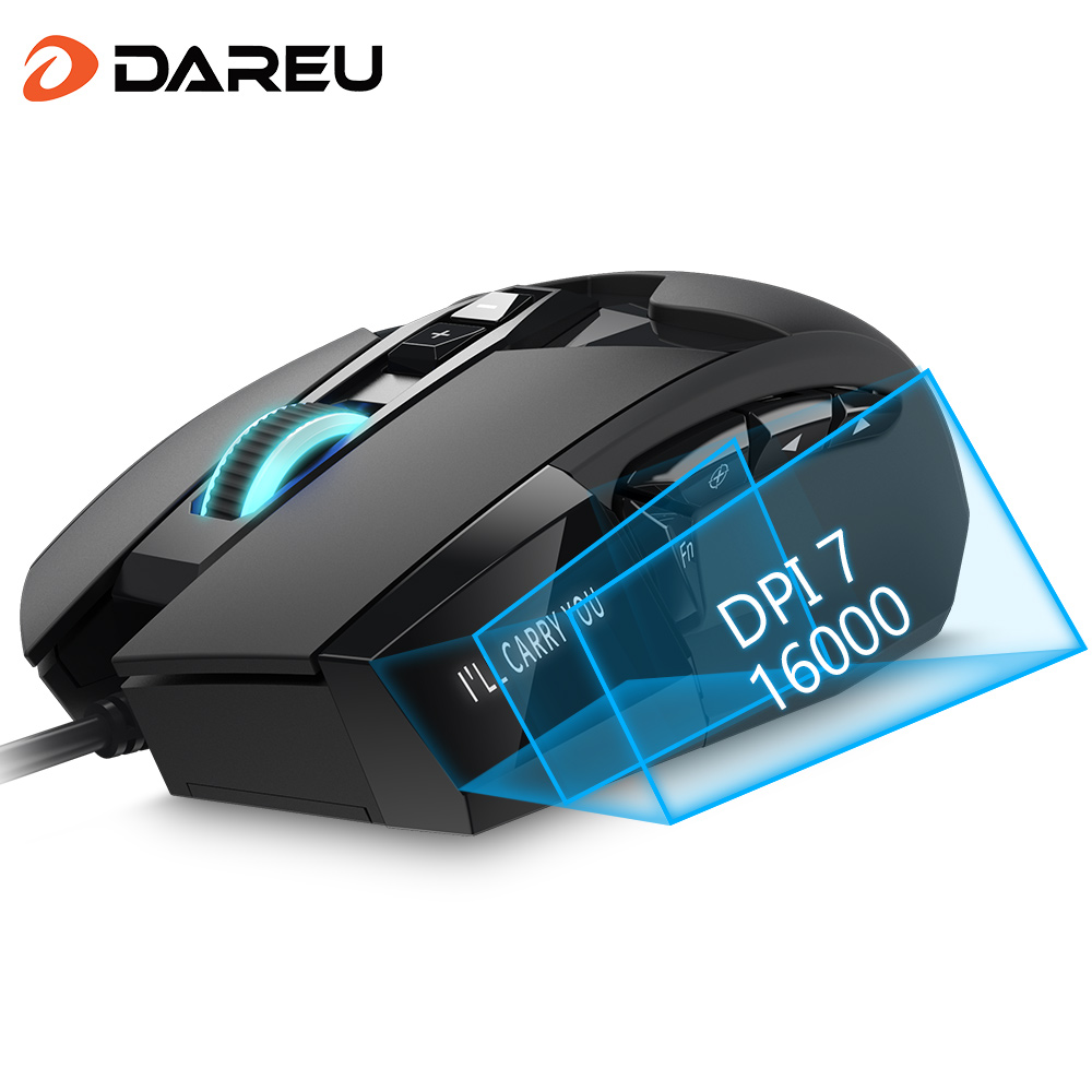 DAREU EM945 PMW3389 Sensor Gaming Mouse 16000DPI 440IPS KBS Button Wired Mice With OLED Screen & DIY Side Button For FPS Gamer