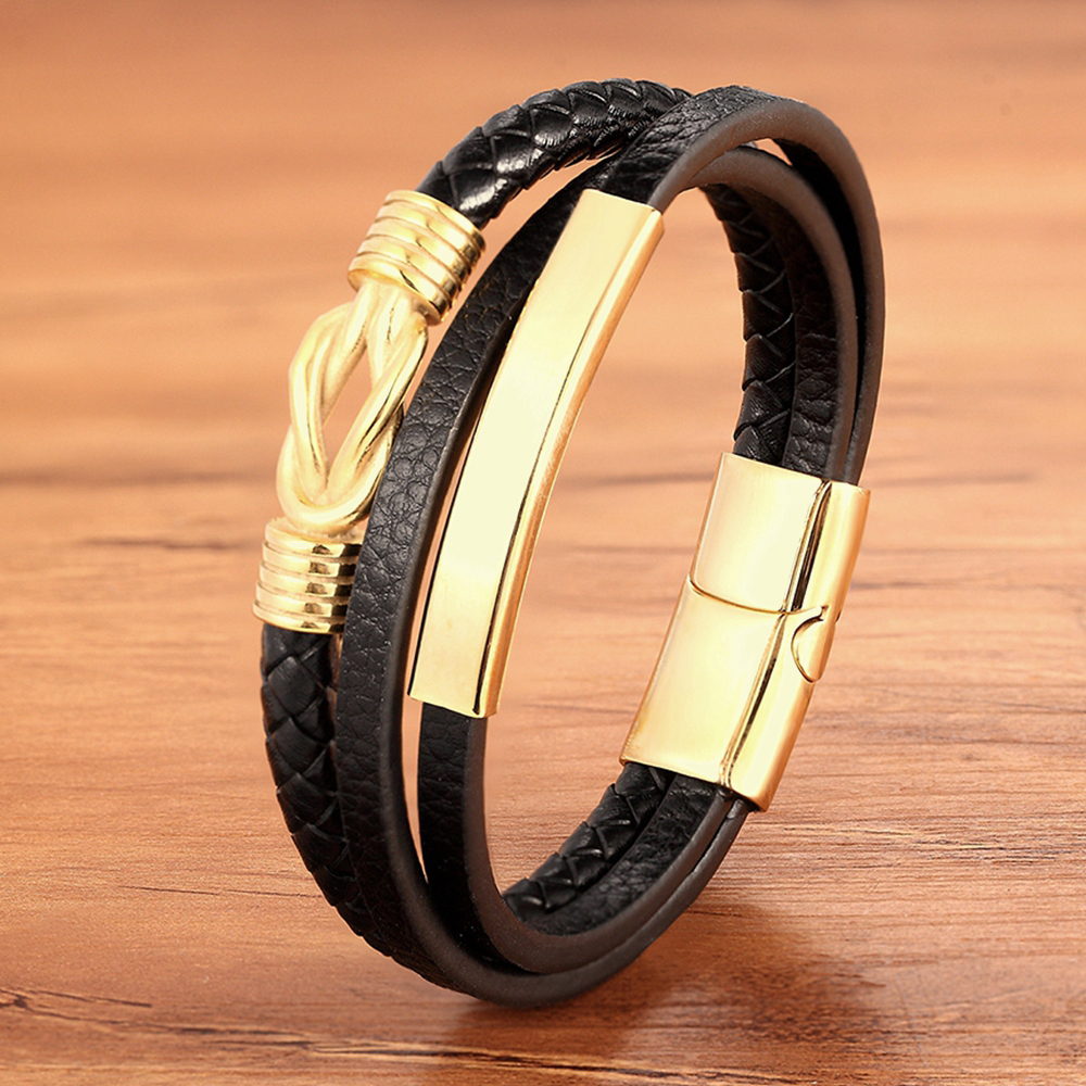 Men Bracelet Genuine Leather Braided Rope Gold Silver Color Trendy Charm Stainless Steel Wholesale Accessories Bangles Jewelry
