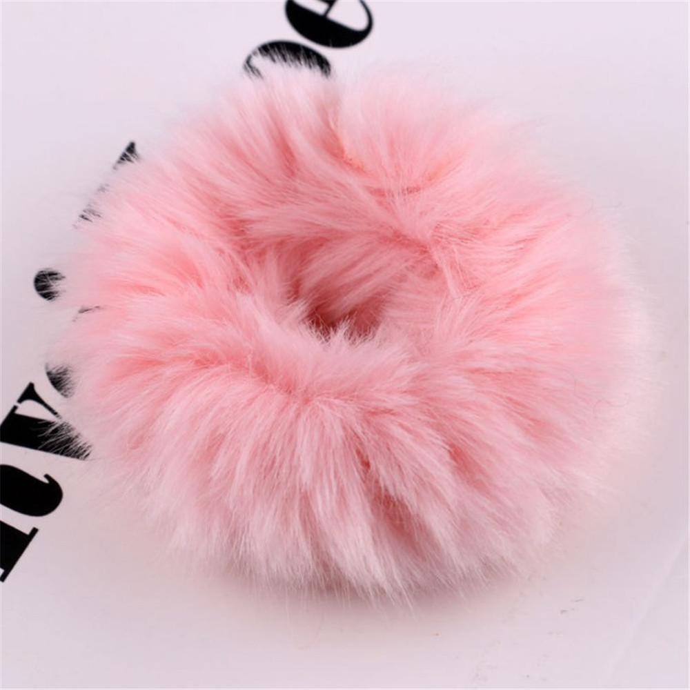 Новые зимние теплые мягкие резинки из кроличьего меха для женщин и девушек, эластичные резинки для волос, плюшевая повязка для волос, резинки, аксессуары для волос - Цвет: 22