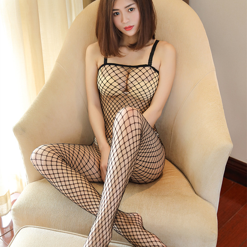 Fishnet Bodysuits Catsuit Womens Transparent Open Crotch Sex Clothes See Through Bodystockings Mesh Erotic Costumes Sex Wear