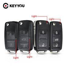 Keyyou 3 botão flip remoto chave do carro escudo caso chave para vw volkswagen tiguan golf sagitar polo mk6 caddy passat b6 chaves de automóvel caso
