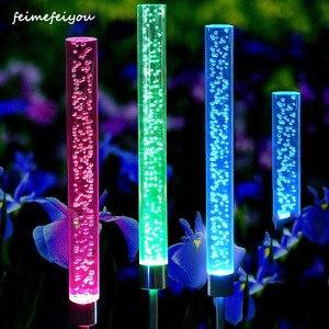 1pcs Garden Solar Lights Outdoor Bubble Tube Stick Lights Solar Acrylic RGB Multi Color Changing Waterproof LED Lights Decor(China)