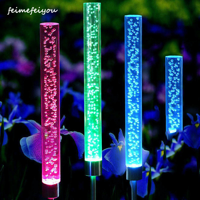 Garden Solar Lights Outdoor Bubble Tube Stick Lights Solar Acrylic RGB Multi Color Changing Lights Waterproof LED Lights Decor