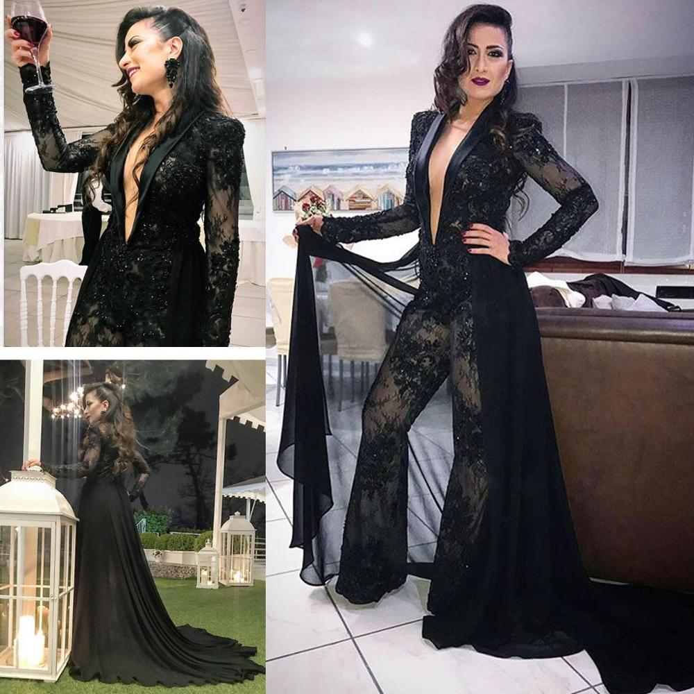 Sexy Black Jumpsuits Prom Dresses Deep V Neck Long Sleeve Lace Beads Evening Dress Formal Party Wear With Detachable Train