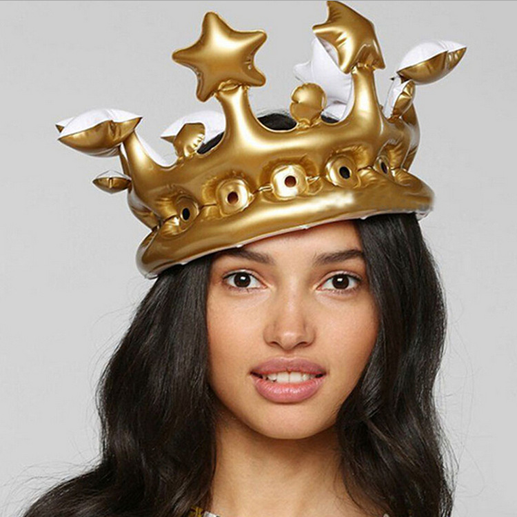 Cos Play Inflatable Gold Crown Kids Birthday Party Hat Tool Stage Prop Gift Balloon King Queen Day Halloween Decor Sesame Street