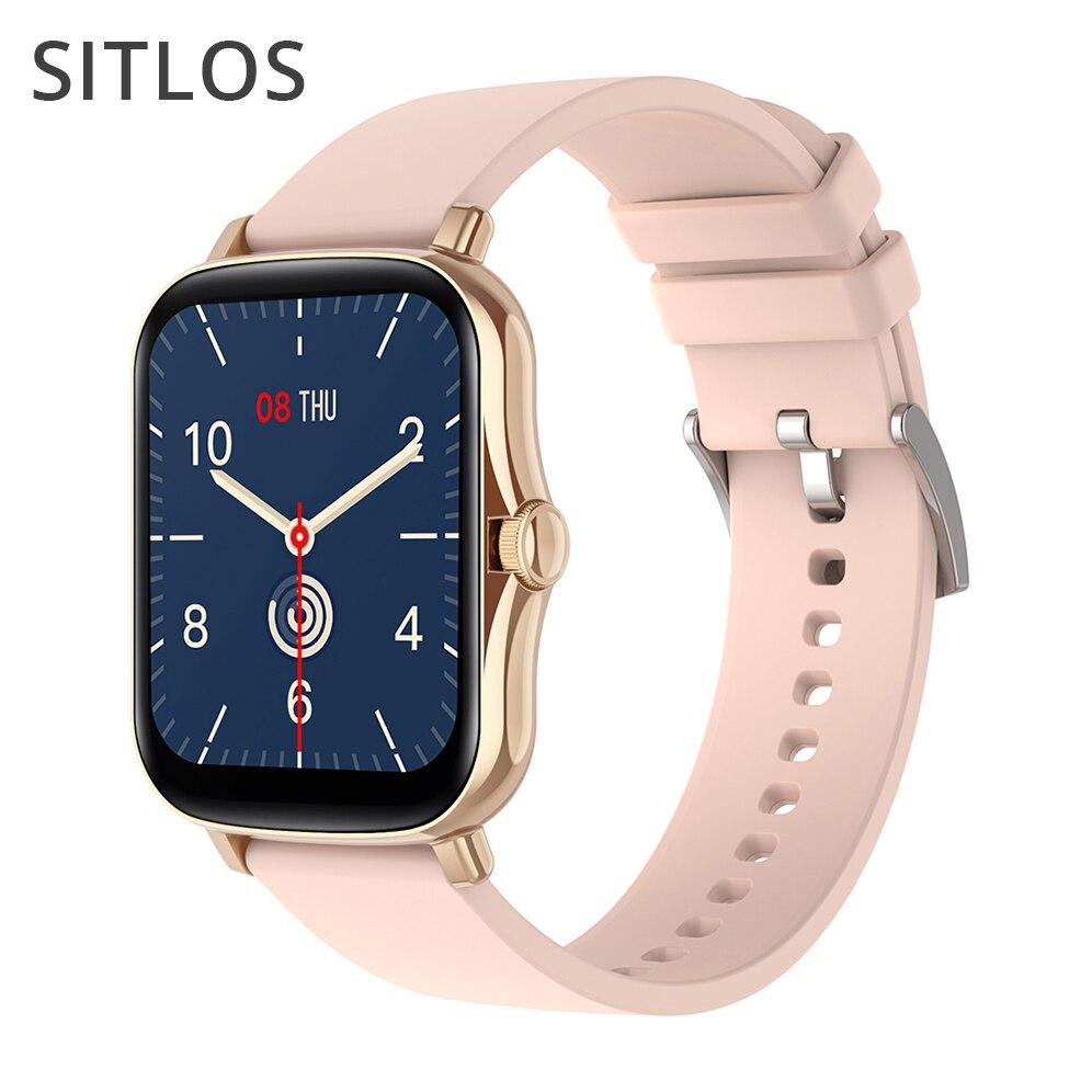Sitlos 2020 relógio inteligente p8 plus feminino 1.69 Polegada pressão arterial freqüência cardíaca rastreador ip67 à prova dip67 água 8 modos para android ios