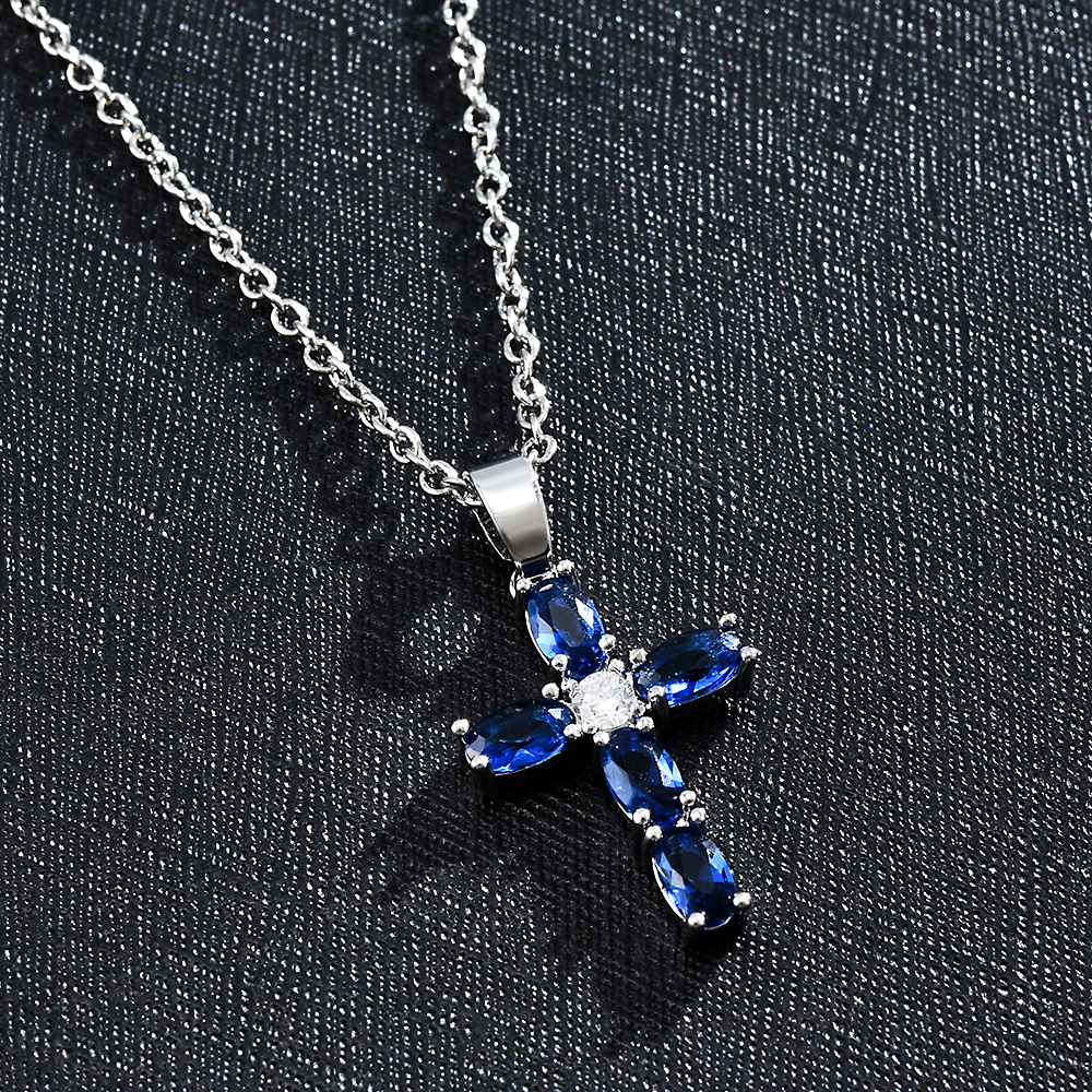 Lucky Cross Crystal Pendant Chain Necklaces Zirconia Statement Necklace Women Necklaces Jewelry for Mom Fashion Gifts for Women image