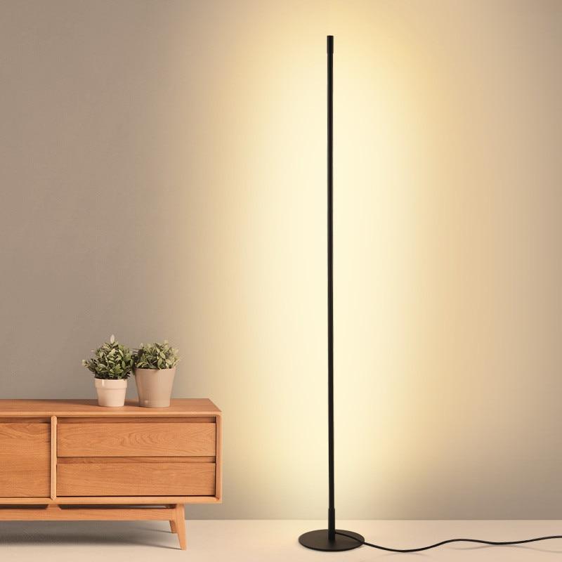Современная цилиндрическая Напольная Лампа с длинной линией, минималистичное украшение для спальни, кабинета, гостиной с дистанционным уп...