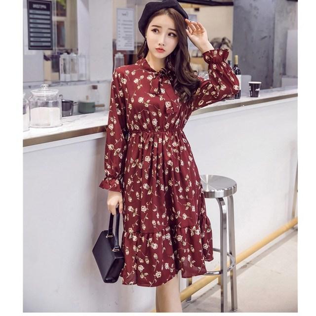 Женское шифоновое платье в горошек, платье с воротником-стойкой и длинным рукавом, с цветочным принтом, лето 2020 2