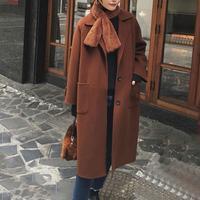 Cashmere Woolen Women Coat Winter 2019 Fashion Vintage Elegant Solid Lapel Long Coat Cappotto Lana Donna Manteau Mouton Femme
