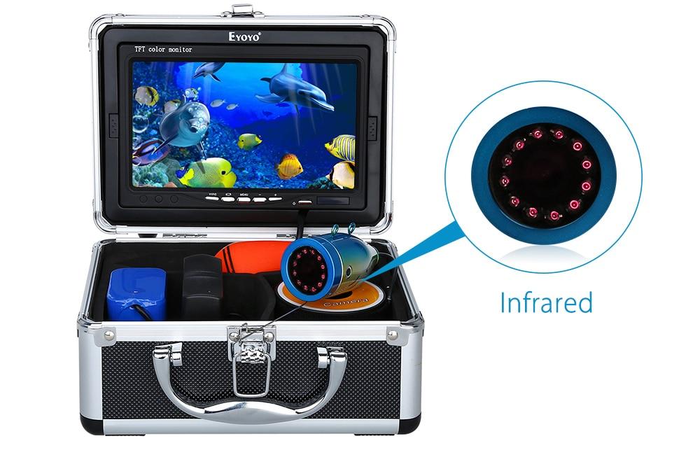 """Eyoyo 30м 1000TVL камера рыбоискатель подводная рыбалка видеокамера """" монитор солнцезащитный козырек инфракрасный светодиод"""