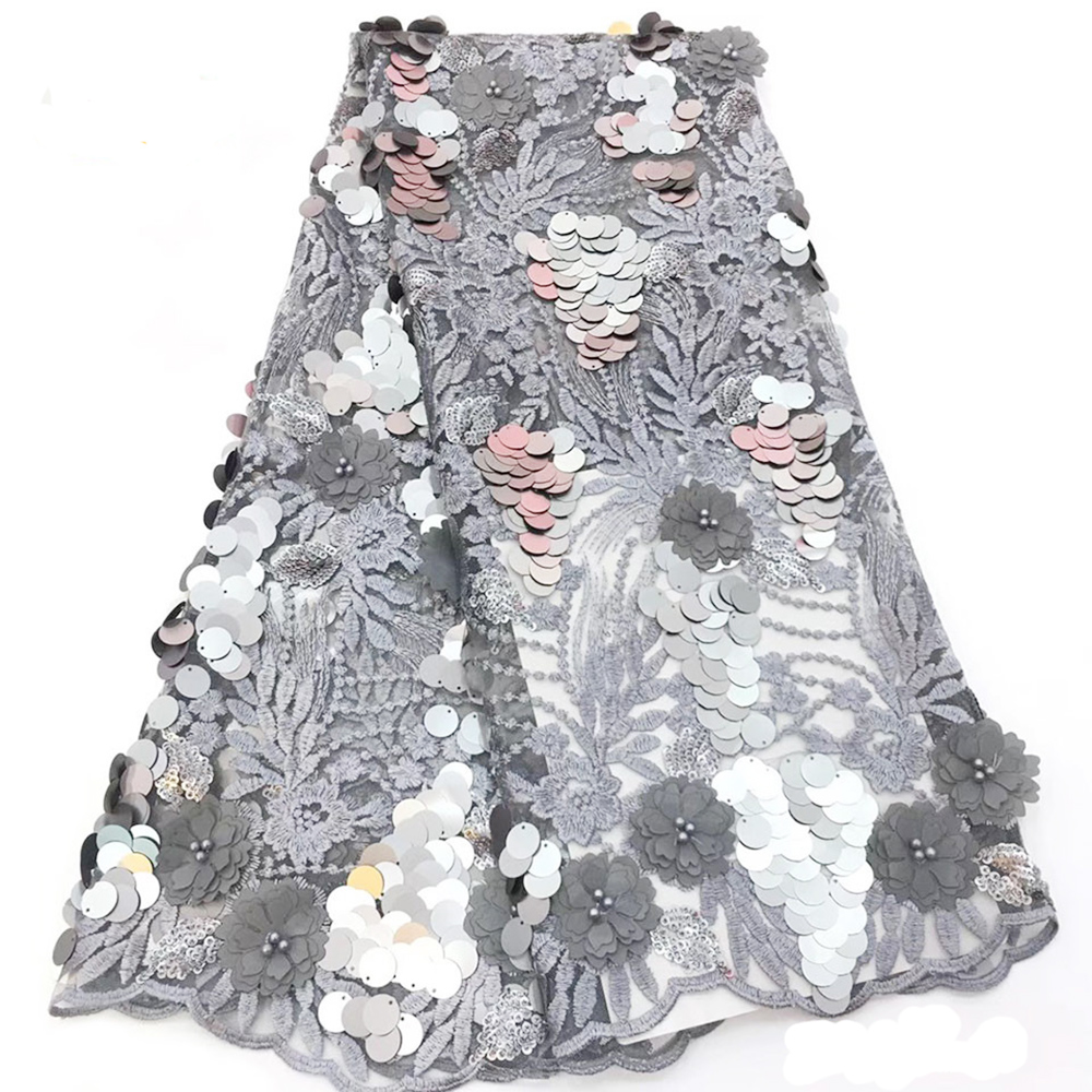 African Lace Fabric 2019 Embroidered Nigerian Lace Fabrics High Quality French Tulle 3D Lace Fabric For Women Dress